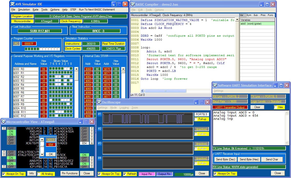 Pic18 simulator ide with pic basic compiler, assembler.