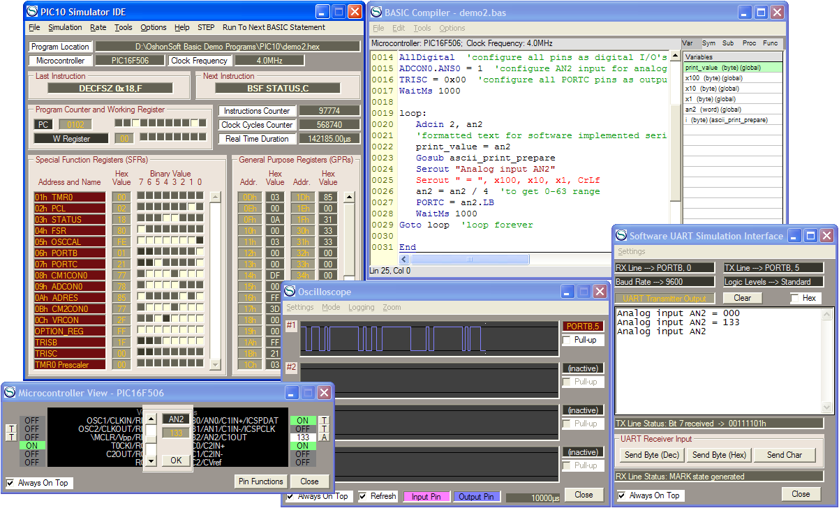 PIC10 Simulator IDE with PIC Basic Compiler, Assembler, Disassembler