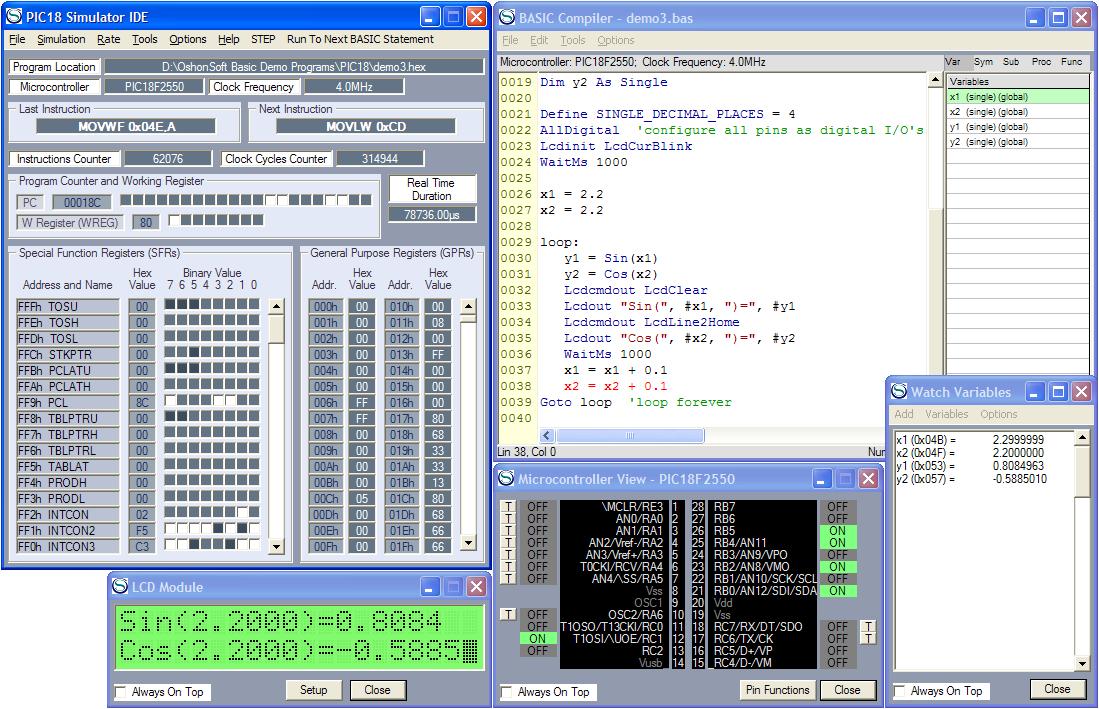 PIC18 Simulator IDE with PIC Basic Compiler, Assembler
