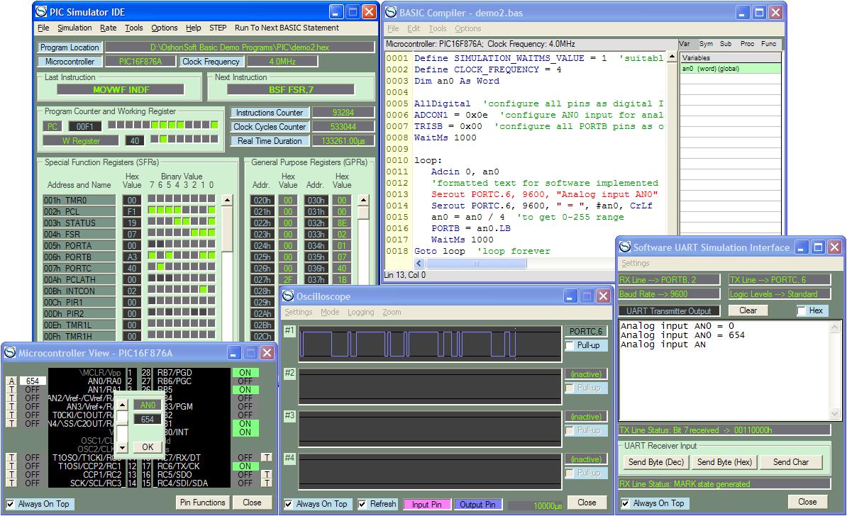 PIC Simulator IDE with PIC Basic Compiler, Assembler