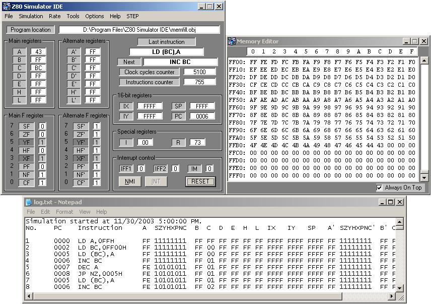 Download z80 simulator.